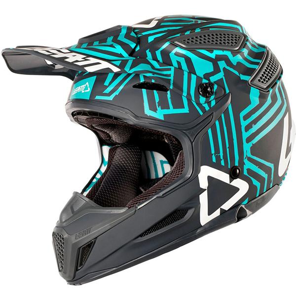 LEATT リアット GPX 5.5 V11 COMPOSITE Helmet 2018モデル モトクロス オフロードヘルメット バイク コンポサイト 【グレイ/ティール】【AMACLUB】 おすすめ 街乗り