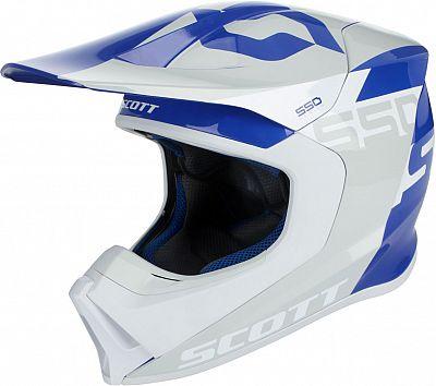 Scott スコット 550 S18 Woodblock cross Helmet Gray/Blue 2018モデル モトクロス オフロードヘルメット バイク ウッドブロック クロス かっこいい【グレイ/青】【AMACLUB】 おすすめ