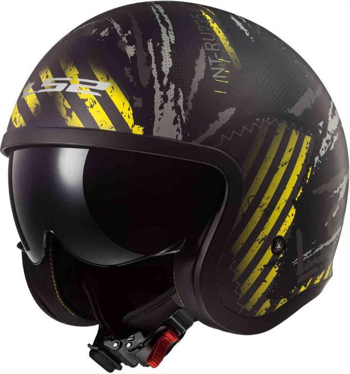 \5/5★キャッシュレス実質9%引/LS2 OF599 Spitfire Garage Jet Helmet 2019 ジェットヘルメット オープンフェイス サンバイザー バイク スピットファイア ガレージ 大きいサイズ 【AMACLUB】