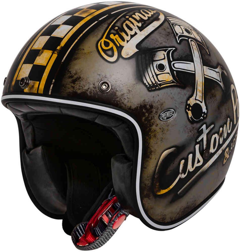 \5/5★キャッシュレス実質9%引/Premier プレミア Le Petit OP ジェットヘルメット オープンフェイス バイク 軽量 かっこいい イタリア ル プチ(黒/ホワイト/ブラウン)(AMACLUB) 街乗り