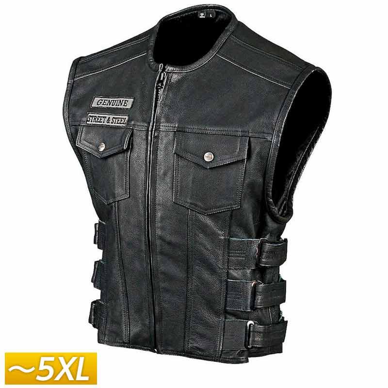【5XLまで】Street & Steel ストリート&スチール Redwood Leather Vest レザーベスト ライディングジャケット バイクウェア ライダー バイク ハーレー ツーリングにも かっこいい アメリカン レッドウッド 大きいサイズ あり アウトレット【AMACLUB】