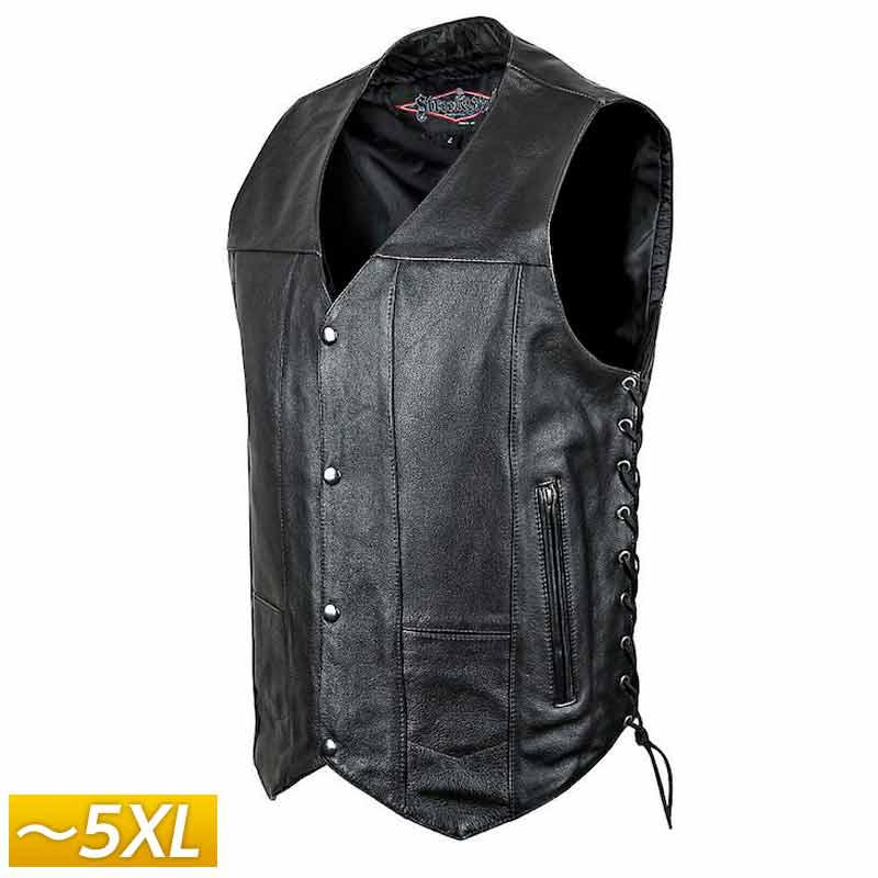 【5XLまで】Street & Steel ストリート&スチール 2nd Amendment Leather Vest レザーベスト ライディングジャケット バイクウェア ライダー バイク ハーレー ツーリングにも かっこいい アメリカン セカンド アメンドメント 大きいサイズ あり アウトレット【AMACLUB】