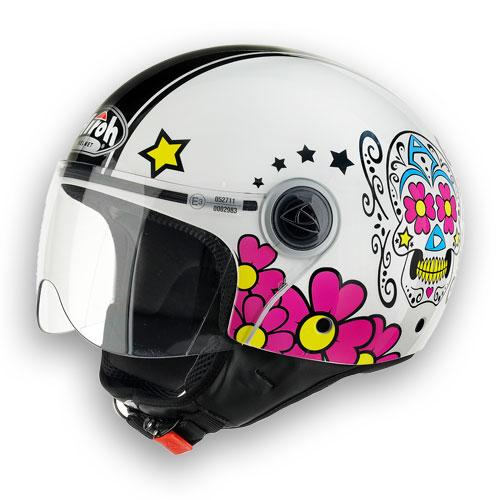 \5/5★キャッシュレス実質9%引/ Airoh アイロー Compact Mexican ジェットヘルメット コンパクト メキシカン イタリアブランド バイク オープンフェイス Women's グラフィック【白桃(ピンク)】頭大きい