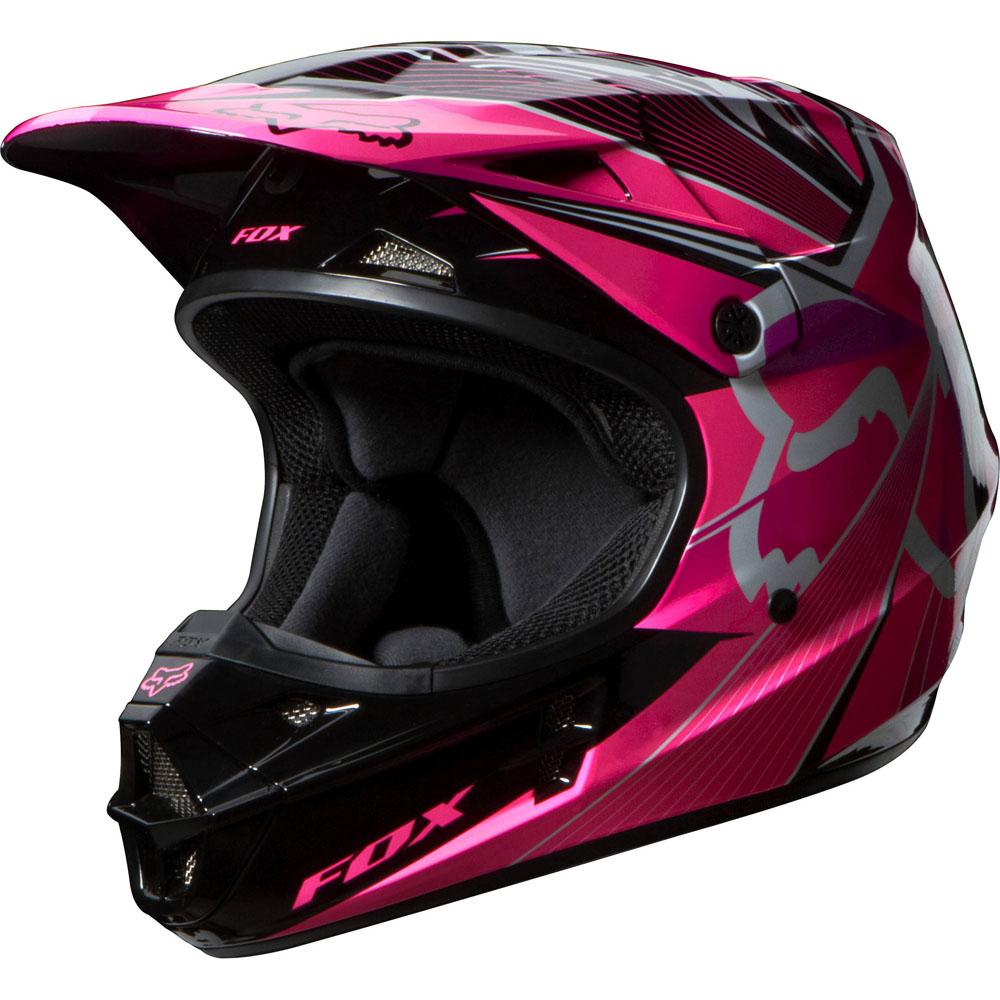 ヘルメット レディース【女性用】【Women's】 FOX フォックス V1 Radeon Helmet ラディオン オフロード モトクロス ヘルメット 2014年モデル レディース 女子 【ピンク】【桃】 かわいい カワイイ 街乗り