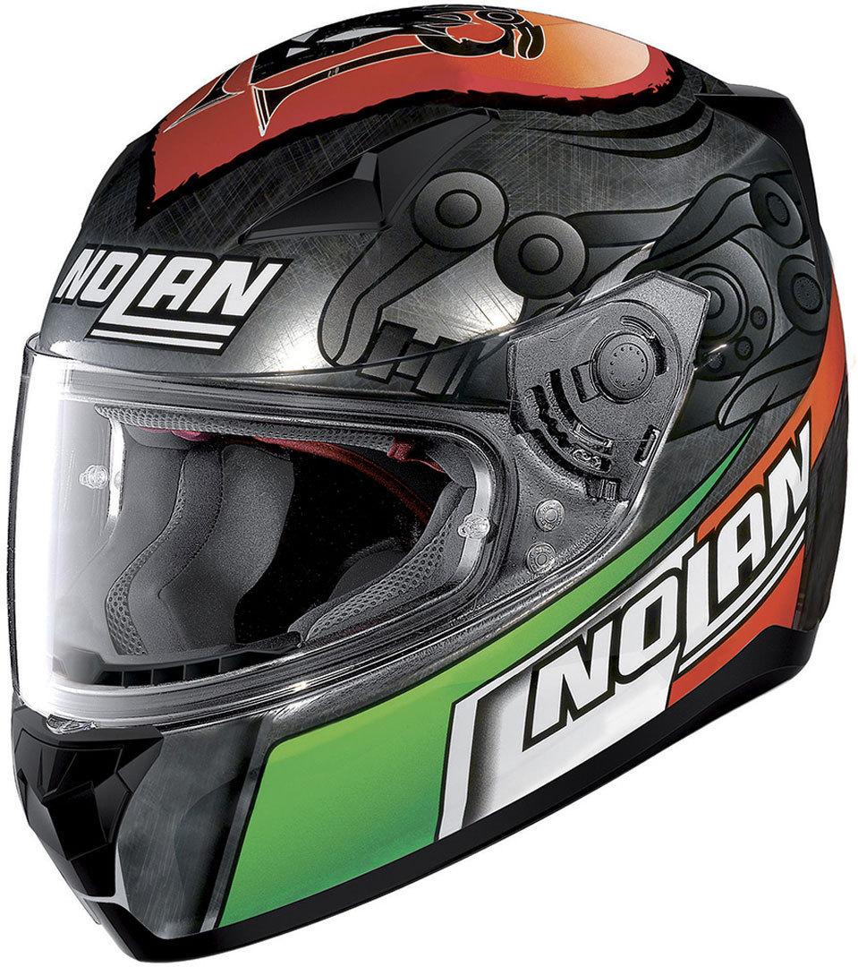Nolan N60-5 Melandri Scratched Chrome 2017モデル フルフェイス ヘルメット レーシング ツーリングにも ライダー バイク アウトレット 【灰赤緑】【AMACLUB】 おすすめ