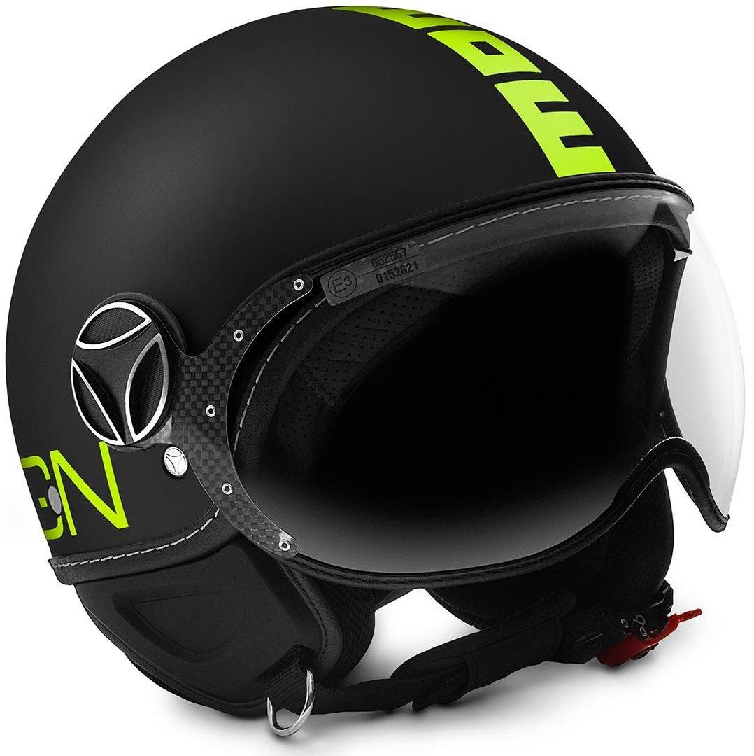 【イタリアブランド】MOMO FGTR Fluo Jet Helmet Black Matt / Yellow 2018モデル ジェットヘルメット バイザージェット ツーリングにも ライダー バイク 【マットブラック/イエロー】おしゃれ かっこいい おすすめ