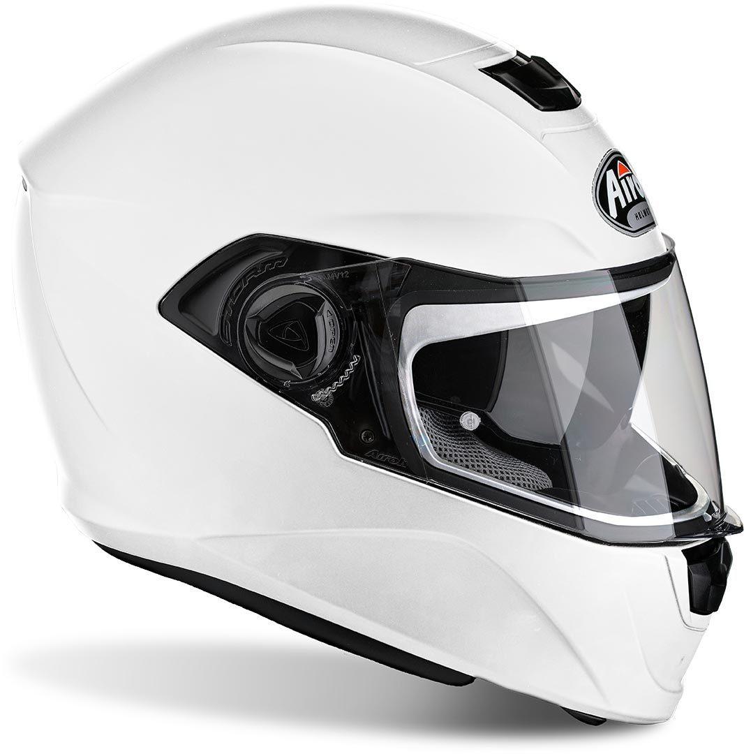 【小顔に見える】【ダブルバイザー】【インナーバイザー】Airoh Storm White 2018モデル フルフェイス ヘルメット レーシング ツーリングにも ライダー バイク  【白】【AMACLUB】帽体 小さい 軽い 軽量 おすすめ かっこいい