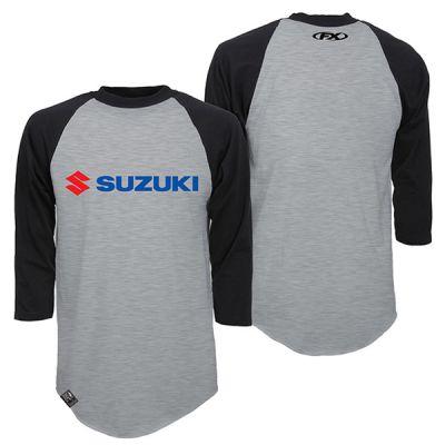 Factory Effex ファクトリーFX Suzuki Baseball Tee カジュアルTシャツ 長袖シャツ バイクウェア スポーティ ライダー バイク ツーリング 自転車にも かっこいい おすすめ (AMACLUB)