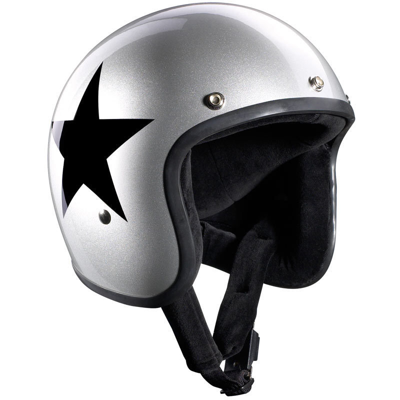 \5/5★キャッシュレス実質9%引/Bandit バンディット Jet Star Silver Jet Helmet ジェットヘルメット オープンフェイスヘルメット ライダー バイク ツーリングにも かっこいい おすすめ (AMACLUB)