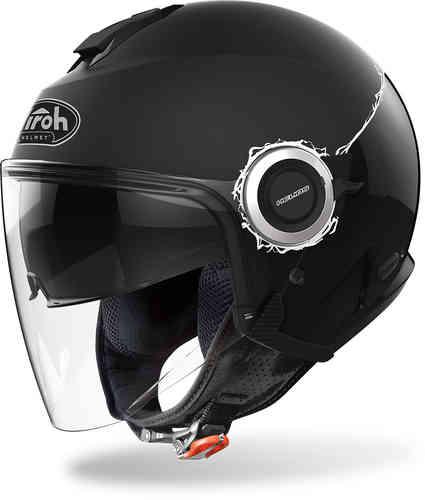 \5/5★キャッシュレス実質9%引/Airoh アイロー Helios Fluo ジェットヘルメット サンバイザー ライダー バイク ツーリングにも かっこいい おすすめ (AMACLUB)