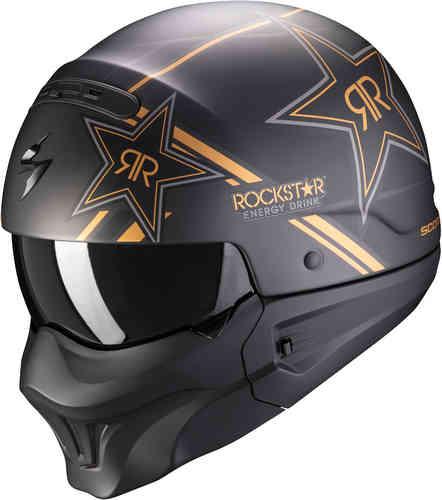 \5/5★キャッシュレス実質9%引/Scorpion スコーピオン EXO-Combat Evo Rockstar ヘルメット マスク ジェットヘルメット サンバイザー ライダー バイク ツーリングにも かっこいい(AMACLUB)