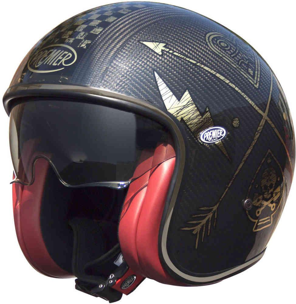 \5/5★キャッシュレス実質9%引/Premier プレミア Vintage NX Carbon ジェットヘルメット オープンフェイスヘルメット サンバイザー ライダー バイク ツーリングにも かっこいい おすすめ (AMACLUB)