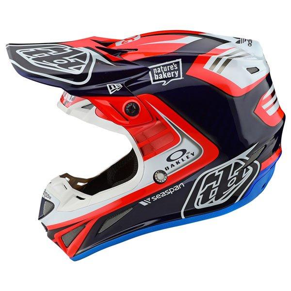 TROY LEE DESIGNS トロイリーデザイン SE4 CARBON FLASH TEAM HELMET オフロードヘルメット モトクロスヘルメット ライダー バイク ツーリングにも かっこいい おすすめ (AMACLUB)