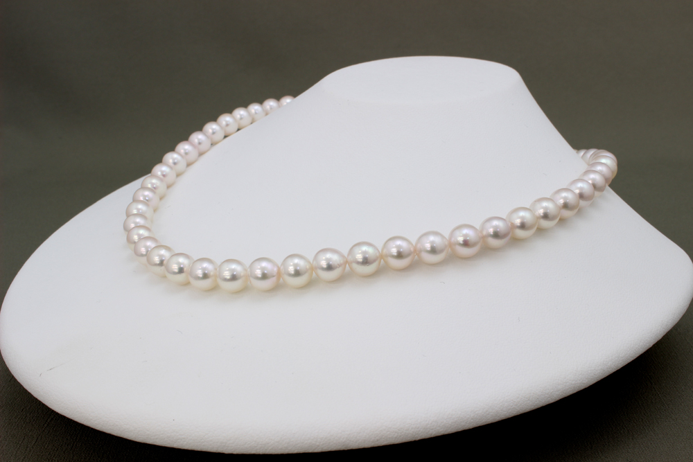 パール 真珠 あこや ネックレス アコヤ真珠 7.5-8mm 約 42cm 冠婚葬祭 フォーマル 保証書 鑑別書付 真珠お手入れクロス付 ケースラッピング付