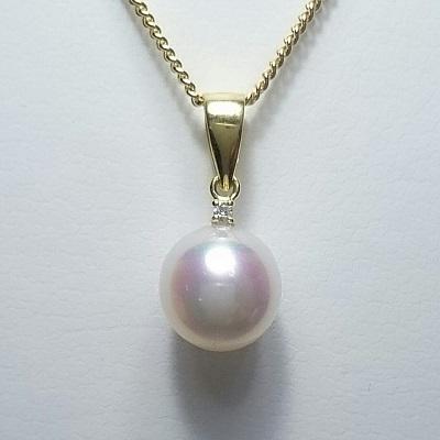 真珠 パール あこや ネックレス 送料無料 8~8.5mm K18ゴールド ネックレスペンダント ダイヤモンド