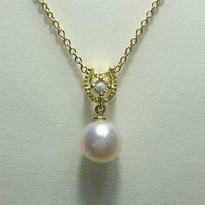 真珠 パール あこや ネックレス 送料無料 8.5-9.0mm K18 ゴールド 馬蹄 ネックレスペンダント ダイヤモンド