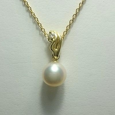 真珠 パール あこや ネックレス 送料無料 6~6.5mm K18ゴールド ネックレスペンダント ダイヤモンド