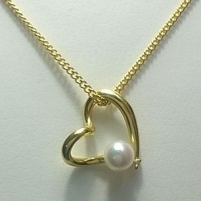 K18 オープンハート ダイヤモンド 真珠 パール あこや ネックレス 送料無料 4~4.5mm