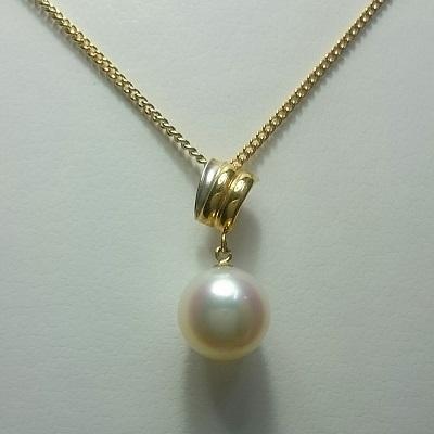真珠 パール ネックレス あこや 送料無料  8~8.5mm K18ゴールド&プラチナコンビネックレスペンダント