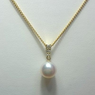 パール 真珠 あこや ネックレス 8-8.5mm アコヤ真珠 K18ゴールド ダイヤモンド ペンダント