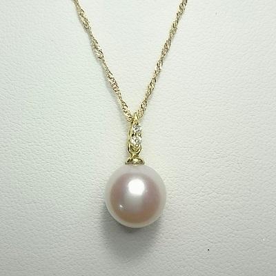 真珠 パール あこや ネックレス 送料無料 8.5~9.0mm K18ゴールド ネックレスペンダント ダイヤモンド