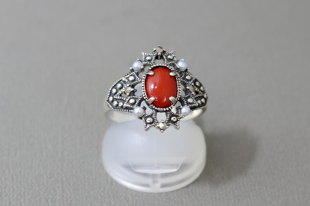 碌山 指輪 シルバー925 silver925 sv925 マルカジット シードパール 珊瑚 デザインリング ♯13