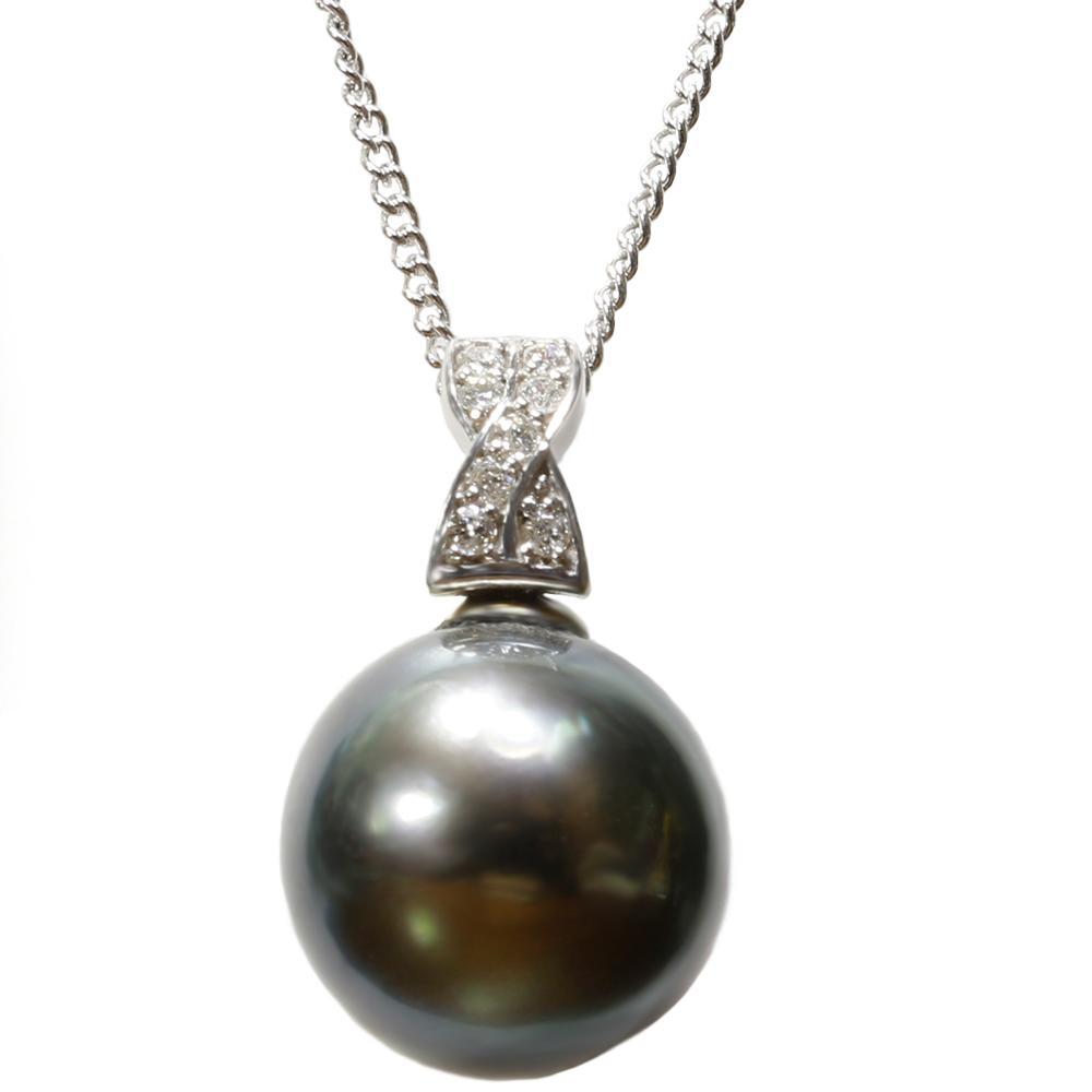 真珠 パール ネックレス 送料無料 タヒチ黒蝶 12mm K18WG ホワイトゴールド ダイヤモンド ネックレス ペンダント