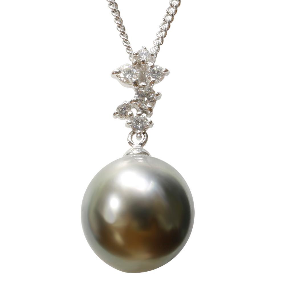 パール 真珠 黒蝶真珠 ネックレス 12mm K18 ホワイトゴールド ダイヤモンド ペンダント
