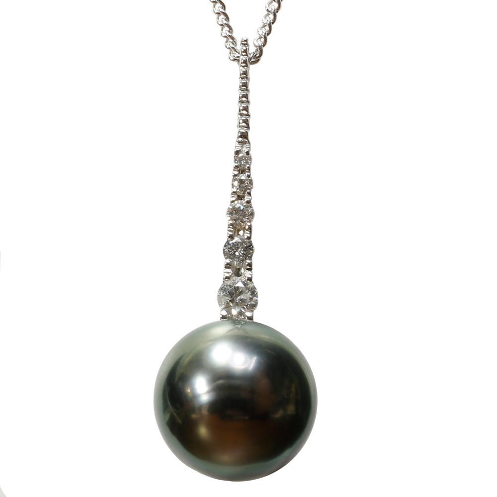 パール 真珠 ネックレス 黒蝶真珠 12mm K18 ホワイトゴールド ダイヤモンド ペンダント