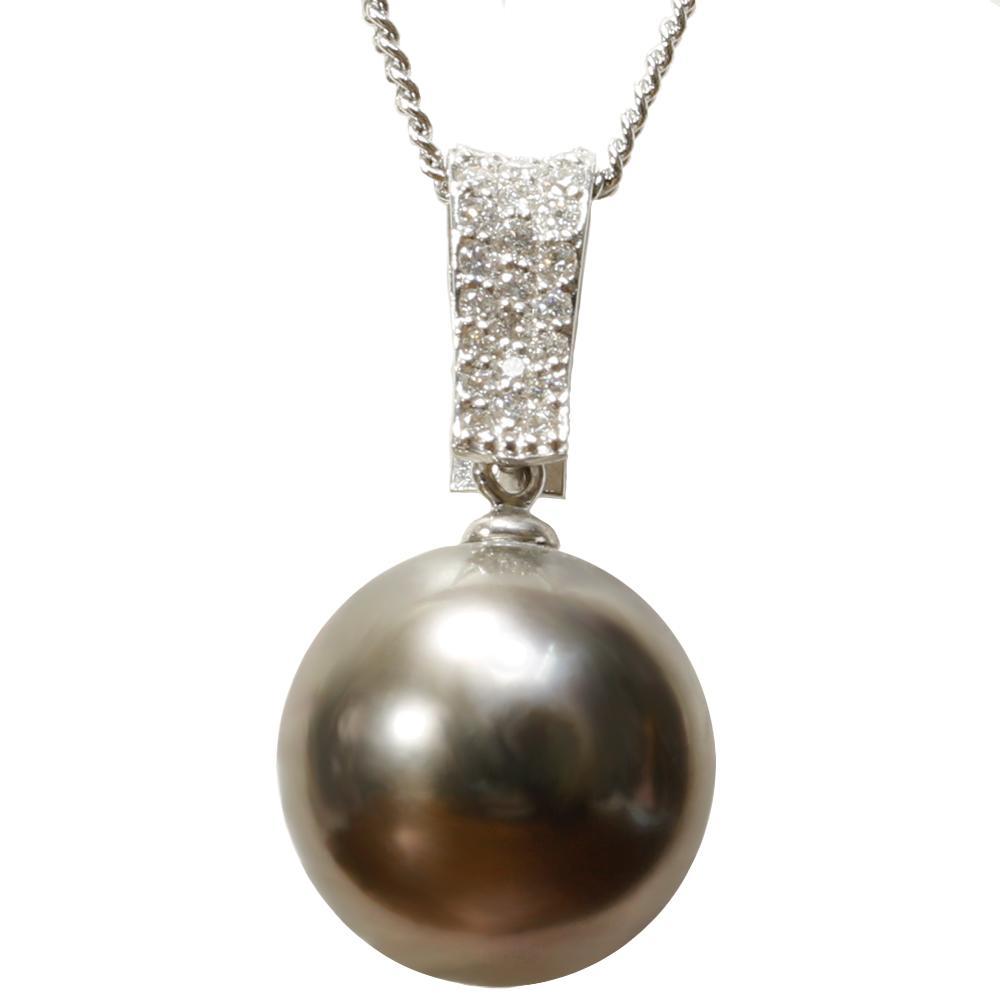 真珠 パール ネックレス 送料無料 黒蝶真珠 12mm K18WG ホワイトゴールド ダイヤモンド ネックレス ペンダント