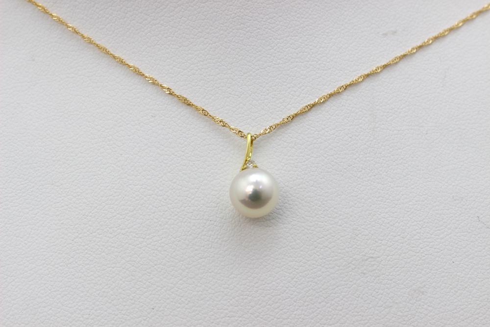 真珠 パール あこや ネックレス 送料無料 7.5~8mm K18ゴールド ネックレスペンダント ダイヤモンド