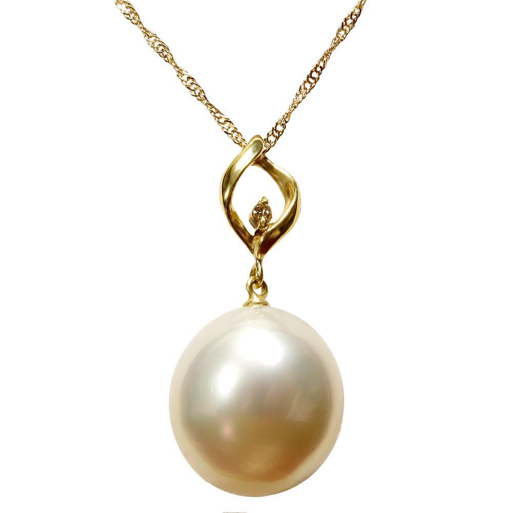 パール 真珠 ネックレス 白蝶 白 12mm K18 ダイヤモンド ペンダント