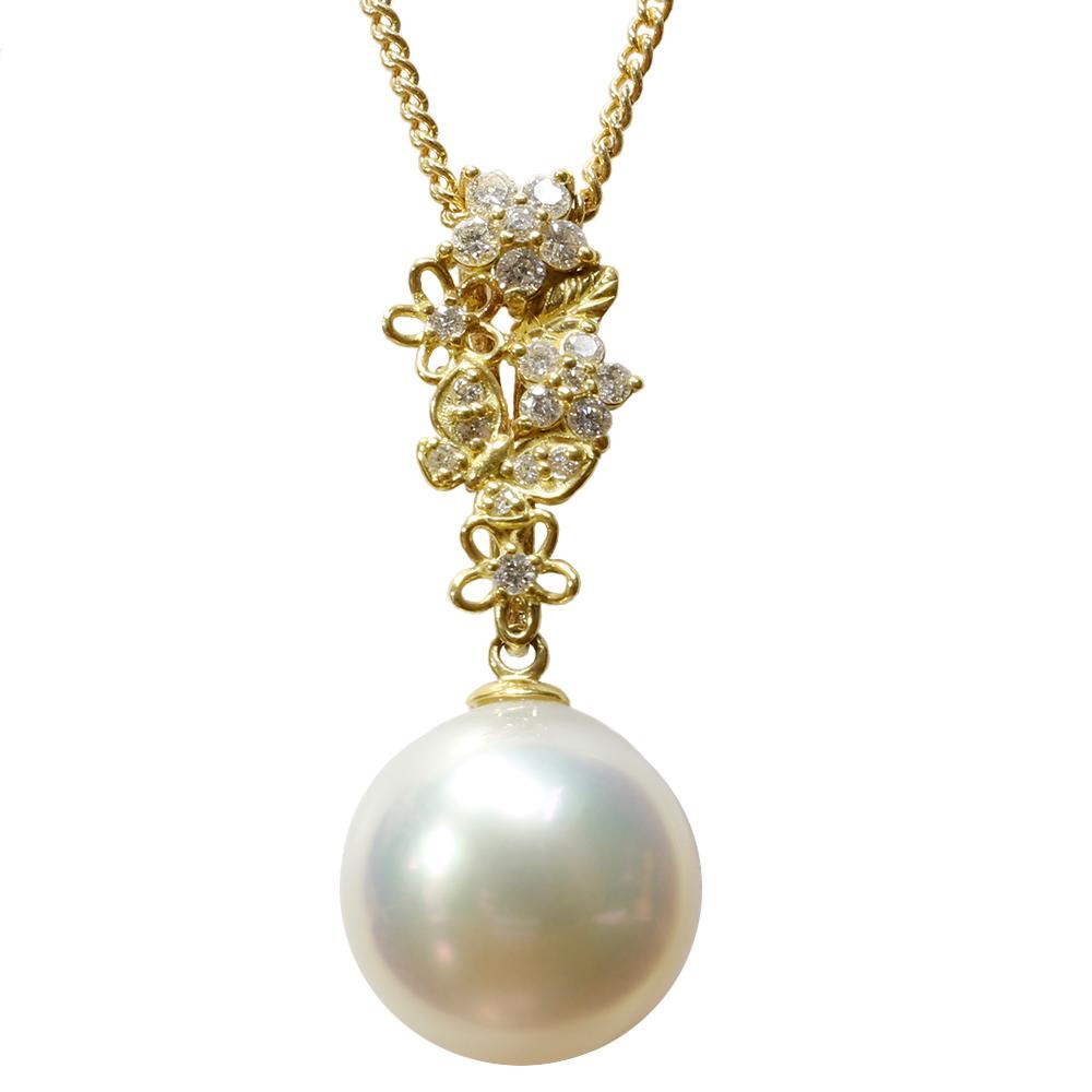 パール 真珠 ネックレス 白蝶 白 11mm K18 ダイヤモンド ペンダント