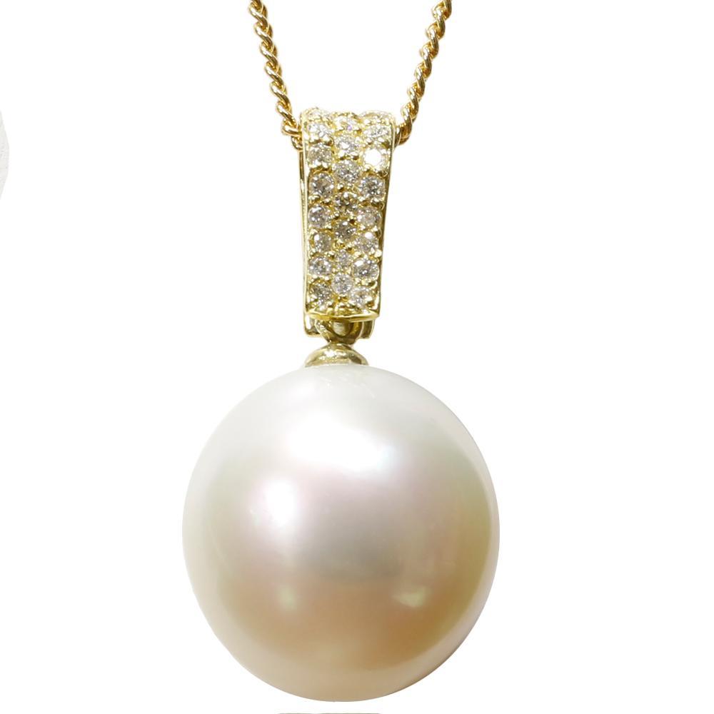 パール 真珠 ネックレス 白蝶 白 13mm K18 ダイヤモンド ペンダント