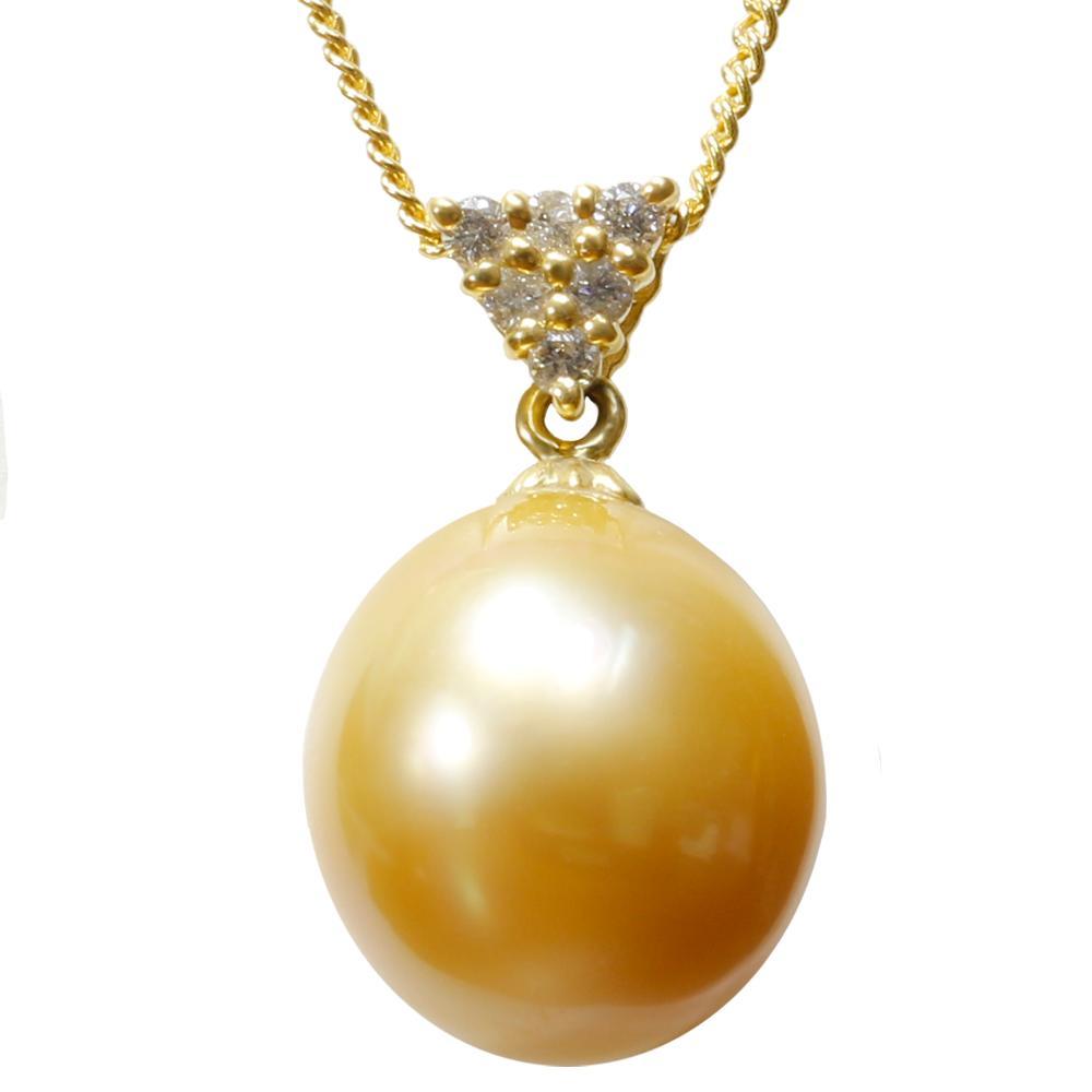 パール 真珠 ネックレス 白蝶 13mm K18 ゴールド ダイヤモンド ペンダント