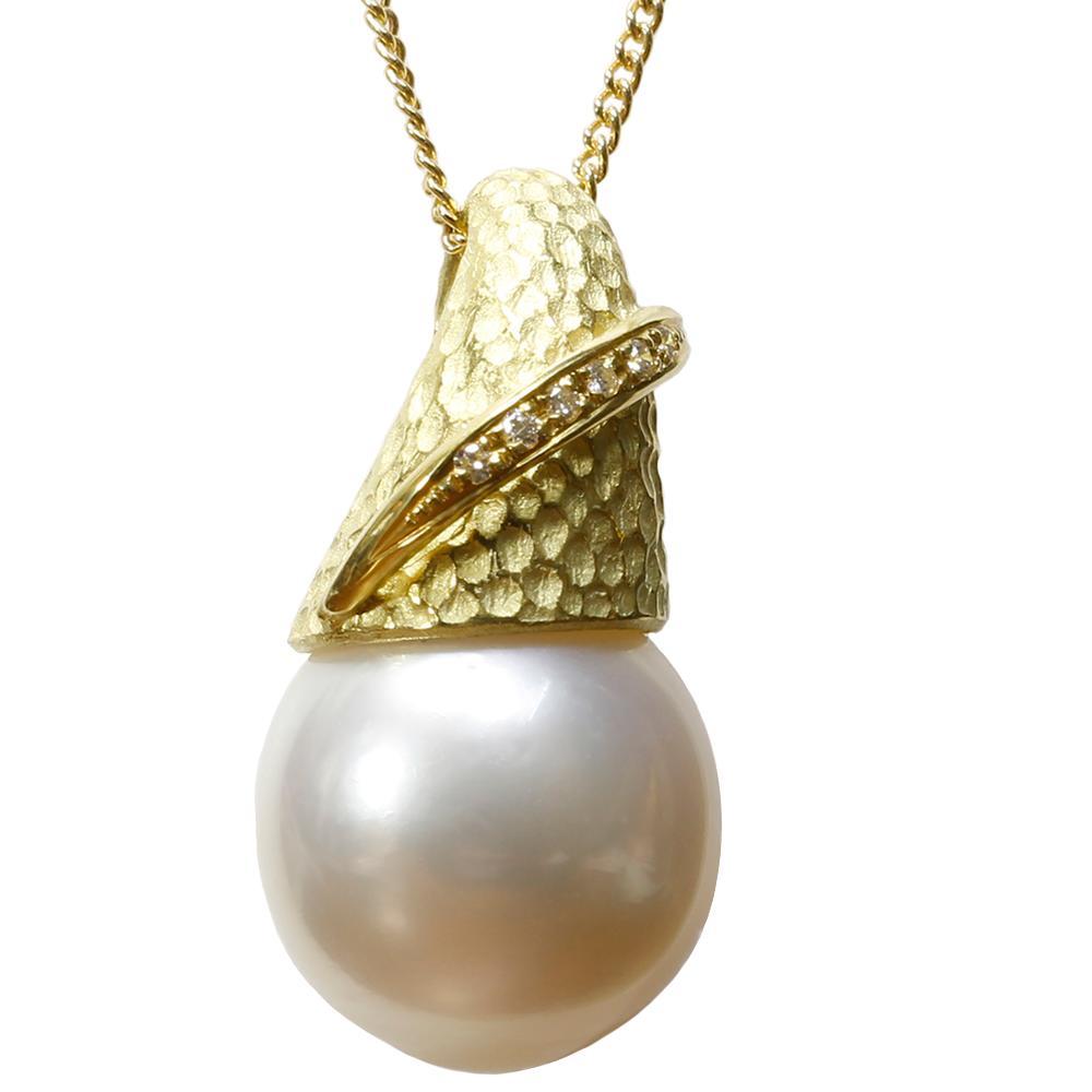 パール 真珠 ネックレス 白蝶 白 14mm K18 ダイヤモンド ペンダント