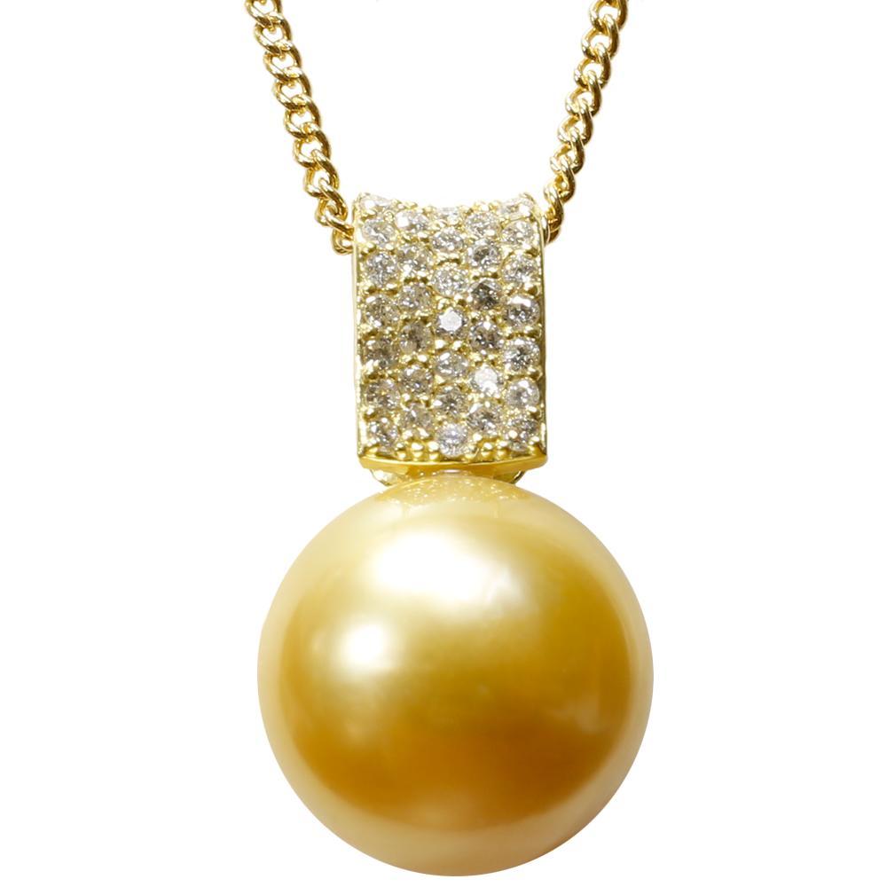 白蝶 パール 白 ネックレス ダイヤモンド 真珠 12mm K18 ペンダント
