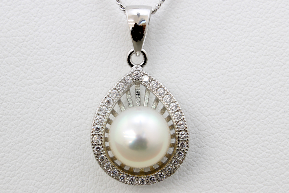 パール 真珠 あこや ネックレス 8.5-9.0mm アコヤ真珠 白 シルバー ペンダント