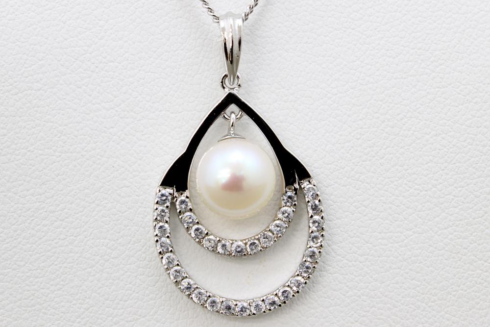 パール 真珠 あこや ネックレス 白 8.0-8.5mm アコヤ真珠 シルバー ペンダント