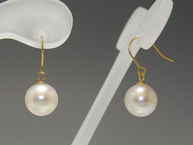 パール 真珠 淡水 ピアス フック 7.5-8.0mm K18 K14 ホワイトゴールド