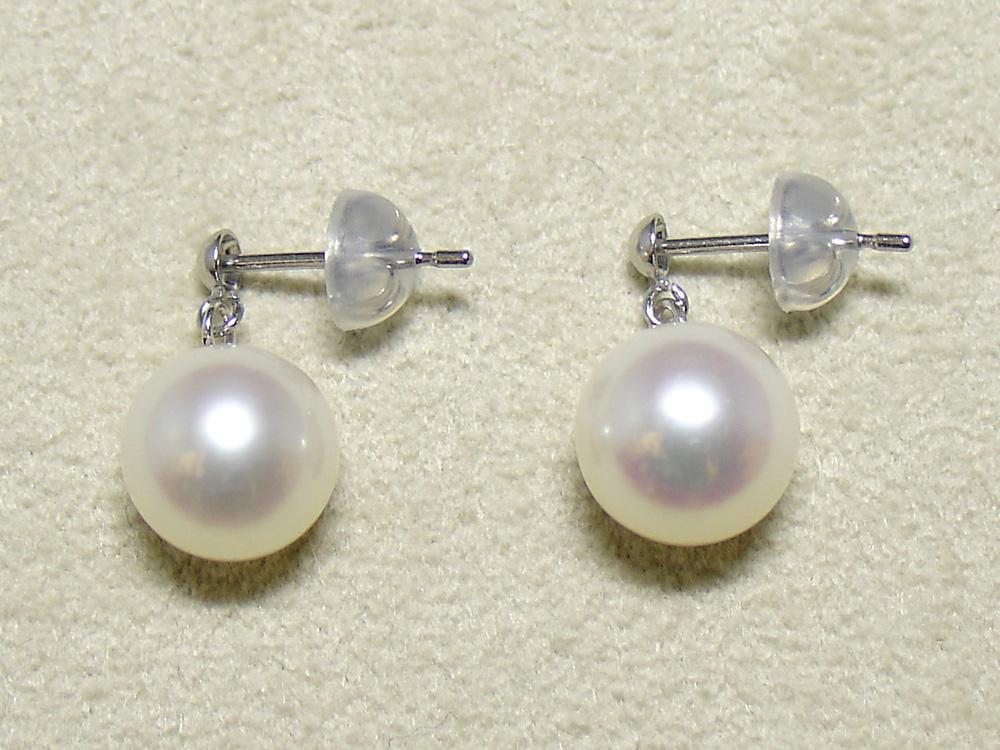 パール 真珠 淡水 ピアス ぶら下がり 7.5-8mm 白 K14 ホワイトゴールド