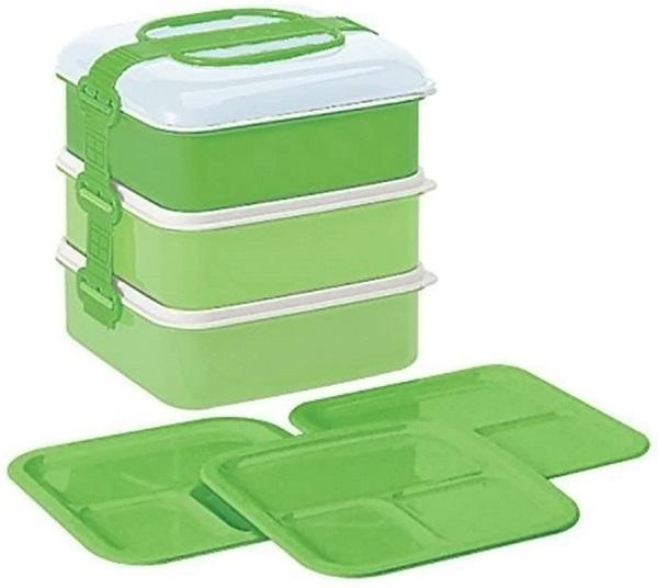 ピクニック 弁当箱 授与 お弁当 3段 ランチボックス ピクニックケース リオパック 格安 約W202×D190×H200mm Nグリーン 取り皿3枚付き サンコープラスチック