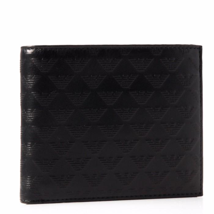 【春夏セール】エンポリオ アルマーニ EMPORIO ARMANI 財布 型押しカーフスキン メンズ 二つ折り財布 ブラック YEM122 YC043 80001