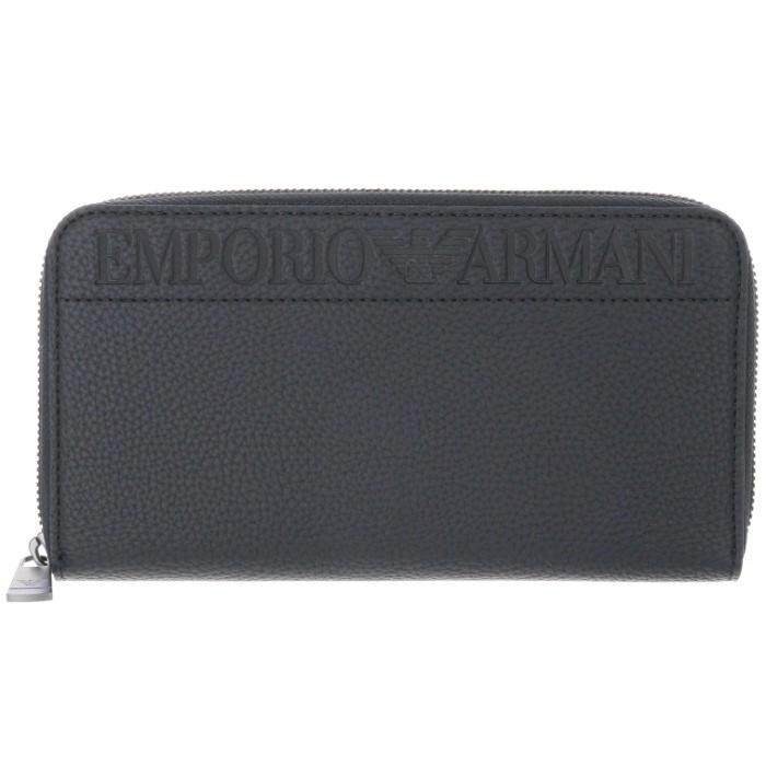 エンポリオ アルマーニ EMPORIO ARMANI 2018年秋冬新作 エンポリオアルマーニ 財布 メンズ ラウンドファスナー長財布 ブラック YEME49 YG89J 81072
