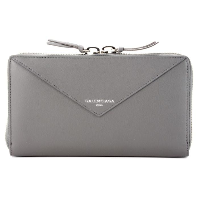 バレンシアガ BALENCIAGA ペーパー PAPER 財布 レディース ラウンドファスナー長財布 グレー 381226 DLQ0N 1215