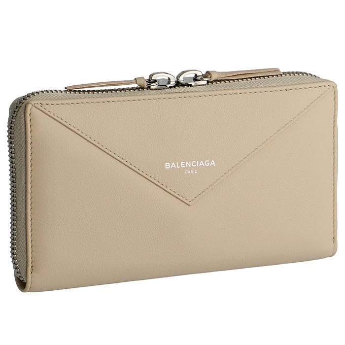 バレンシアガ BALENCIAGA ペーパー PAPER 財布 レディース ラウンドファスナー長財布 ベージュ系 381226 DLQ0N 2730
