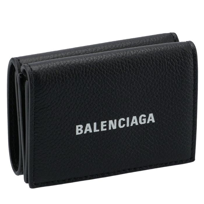 バレンシアガ BALENCIAGA 財布 三つ折り ミニ財布 ロゴ ミニウォレット ブラック 594312 1IZ43 1090