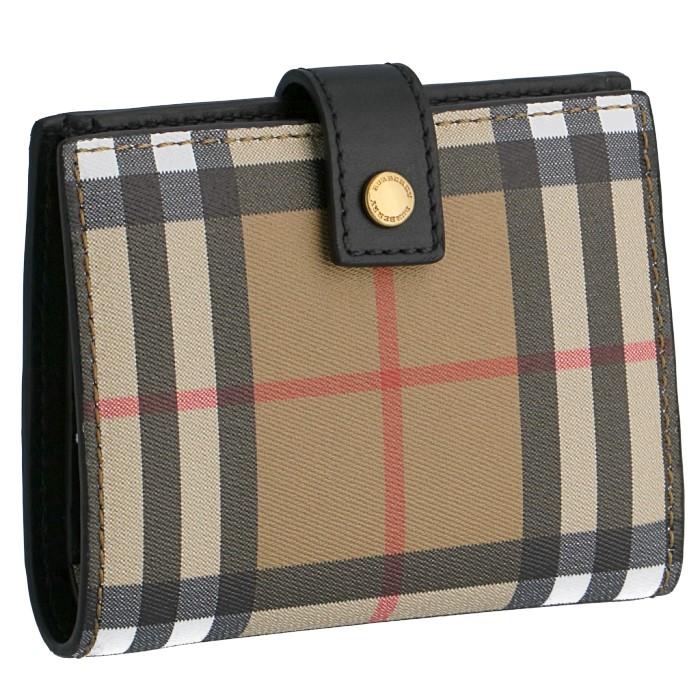 4f280b7f887e バーバリー ヴィンテージチェック&レザー 財布 フラップ 二つ折り レディース チェック柄 ブラック BLACK[プレゼント