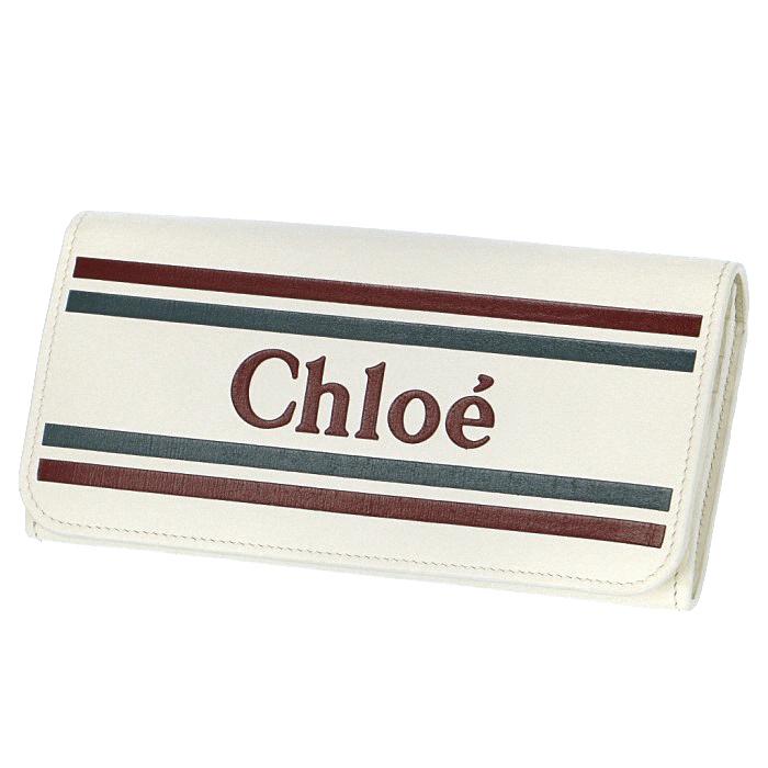 クロエ CHLOE 2019年春夏新作 財布 ロゴ カーフレザー 二つ折り 長財布 ホワイト系 9SP065 A88 119
