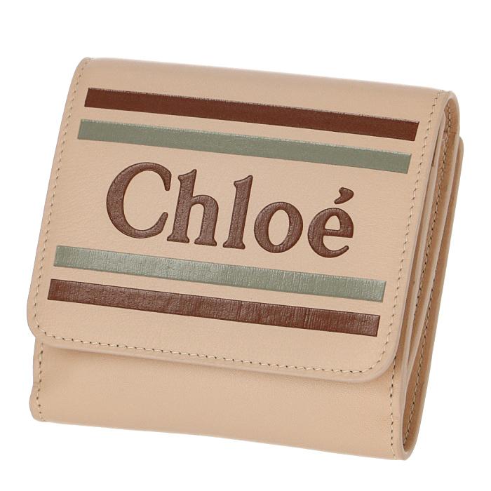 クロエ CHLOE 2019年春夏新作 財布 ロゴ カーフレザー ミニ財布 二つ折り 二つ折り財布 ベージュ系 9SP066 A88 6H7